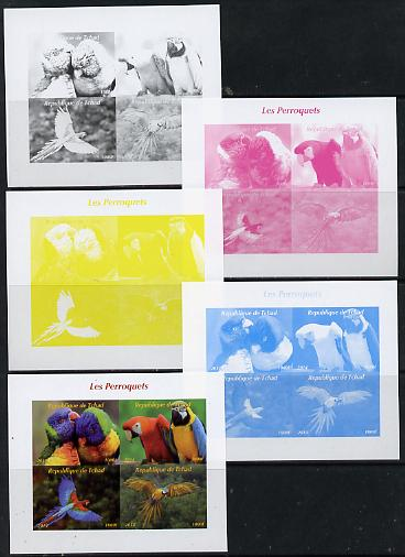 Chad 2014 Parrots sheetlet containing 4 values - the set of 5 imperf progressive proofs comprising the 4 individual colours plus all 4-colour composite, unmounted mint