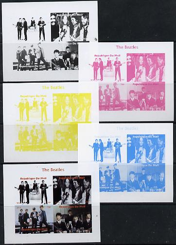 Mali 2014 The Beatles #1 sheetlet containing 4 values - the set of 5 imperf progressive proofs comprising the 4 individual colours plus all 4-colour composite, unmounted mint