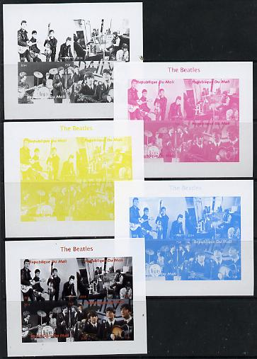 Mali 2014 The Beatles #2 sheetlet containing 4 values - the set of 5 imperf progressive proofs comprising the 4 individual colours plus all 4-colour composite, unmounted mint
