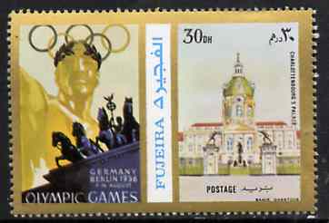 Fujeira 1972 Charlottenbourg Palace 30 Dh perf se-tenant with label from Olympics Games - People & Places set of 20 unmounted mint, Mi 1049A