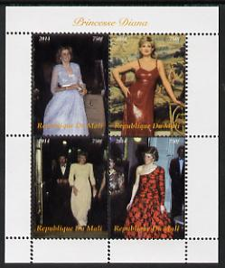 Mali 2014 Princess Diana perf sheetlet containing 4 values unmounted mint. Note this item is privately produced and is offered purely on its thematic appeal