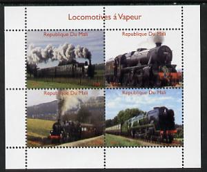 Mali 2014 Steam Locomotives #1 perf sheetlet containing 4 values unmounted mint. Note this item is privately produced and is offered purely on its thematic appeal
