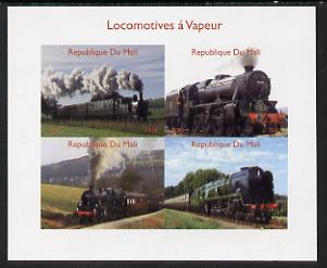 Mali 2014 Steam Locomotives #1 imperf sheetlet containing 4 values unmounted mint. Note this item is privately produced and is offered purely on its thematic appeal, it has no postal validity, stamps on railways