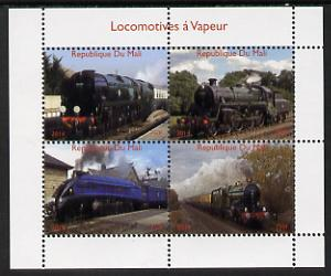 Mali 2014 Steam Locomotives #2 perf sheetlet containing 4 values unmounted mint. Note this item is privately produced and is offered purely on its thematic appeal, stamps on railways
