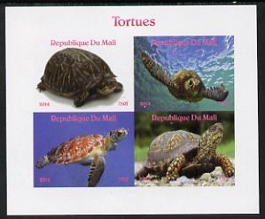 Mali 2014 Turtles imperf sheetlet containing 4 values unmounted mint. Note this item is privately produced and is offered purely on its thematic appeal, it has no postal validity