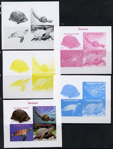 Mali 2014 Turtles sheetlet containing 4 values - the set of 5 imperf progressive proofs comprising the 4 individual colours plus all 4-colour composite, unmounted mint , stamps on reptiles, stamps on turtles
