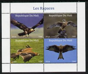 Mali 2014 Birds of Prey perf sheetlet containing 4 values unmounted mint. Note this item is privately produced and is offered purely on its thematic appeal