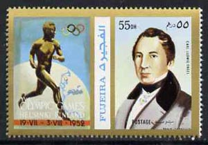 Fujeira 1972 Carl Engel 55 Dh perf se-tenant with label (showing Runner) from Olympics Games - People & Places set of 20 unmounted mint, Mi 1051A