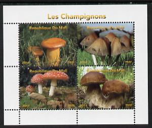 Mali 2014 Mushrooms #1 perf sheetlet containing 4 values unmounted mint. Note this item is privately produced and is offered purely on its thematic appeal