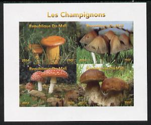 Mali 2014 Mushrooms #1 imperf sheetlet containing 4 values unmounted mint. Note this item is privately produced and is offered purely on its thematic appeal, it has no postal validity