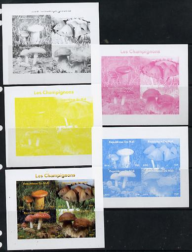 Mali 2014 Mushrooms #1 sheetlet containing 4 values - the set of 5 imperf progressive proofs comprising the 4 individual colours plus all 4-colour composite, unmounted mint