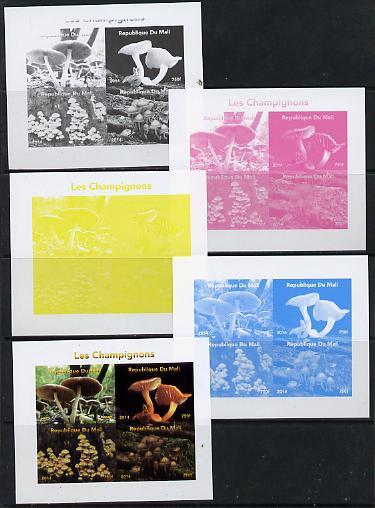 Mali 2014 Mushrooms #2 sheetlet containing 4 values - the set of 5 imperf progressive proofs comprising the 4 individual colours plus all 4-colour composite, unmounted mint