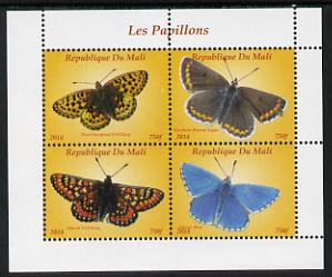 Mali 2014 Butterflies #1 perf sheetlet containing 4 values unmounted mint. Note this item is privately produced and is offered purely on its thematic appeal