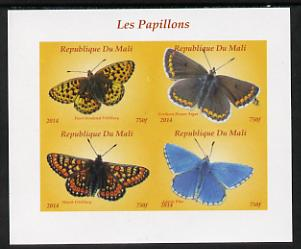 Mali 2014 Butterflies #1 imperf sheetlet containing 4 values unmounted mint. Note this item is privately produced and is offered purely on its thematic appeal, it has no postal validity