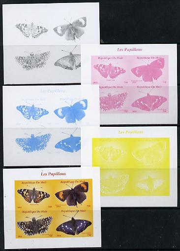 Mali 2014 Butterflies #2 sheetlet containing 4 values - the set of 5 imperf progressive proofs comprising the 4 individual colours plus all 4-colour composite, unmounted mint
