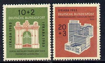 Germany - West 1953 International Philatelic Exhibition set of 2 unmounted mint SG 1097-98