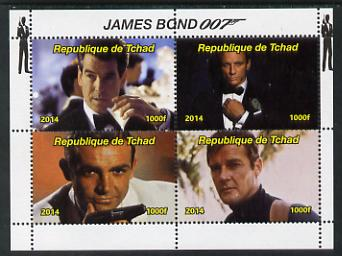 Chad 2014 James Bond perf sheetlet containing 4 values unmounted mint. Note this item is privately produced and is offered purely on its thematic appeal. . , stamps on movies, stamps on films, stamps on  spy , stamps on cinena