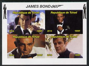 Chad 2014 James Bond imperf sheetlet containing 4 values unmounted mint. Note this item is privately produced and is offered purely on its thematic appeal. .
