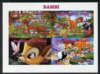 Chad 2014 Walt Disney's Bambi imperf sheetlet containing 4 values unmounted mint. Note this item is privately produced and is offered purely on its thematic appeal. .