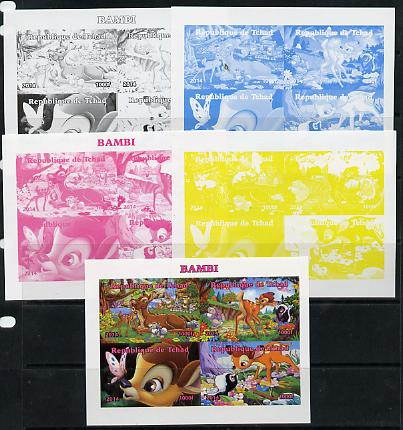 Chad 2014 Walt Disney's Bambi sheetlet containing 4 values - the set of 5 imperf progressive proofs comprising the 4 individual colours plus all 4-colour composite, unmounted mint