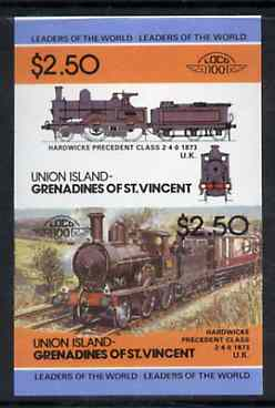 St Vincent - Union Island $2.50 Locomotive Hardwicke Precedent se-tenant proof pair as issued but imperforate unmounted mint
