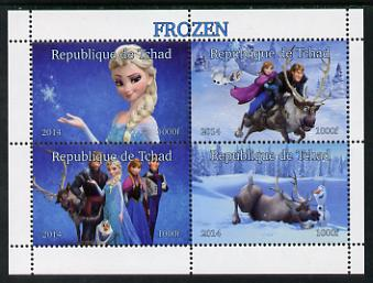 Chad 2014 Walt Disney's Frozen #1 perf sheetlet containing 4 values unmounted mint. Note this item is privately produced and is offered purely on its thematic appeal. . , stamps on films, stamps on movies, stamps on cinema, stamps on cartoons, stamps on disney, stamps on