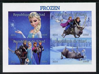 Chad 2014 Walt Disney's Frozen #1 imperf sheetlet containing 4 values unmounted mint. Note this item is privately produced and is offered purely on its thematic appeal. .