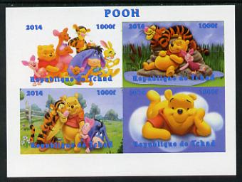 Chad 2014 Walt Disney's Pooh imperf sheetlet containing 4 values unmounted mint. Note this item is privately produced and is offered purely on its thematic appeal. .