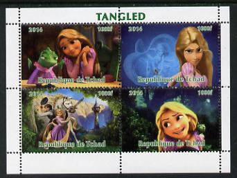 Chad 2014 Walt Disney's Tangled perf sheetlet containing 4 values unmounted mint. Note this item is privately produced and is offered purely on its thematic appeal. .