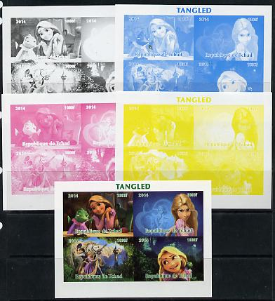 Chad 2014 Walt Disney's Tangled sheetlet containing 4 values - the set of 5 imperf progressive proofs comprising the 4 individual colours plus all 4-colour composite, unmounted mint