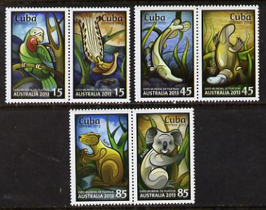 Cuba 2013 Australia Expo perf set of 6 values (3 se-tenant pairs)unmounted mint