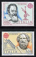 Italy 1983 Europa (Galileo & Archimedes) set of 2 unmounted mint SG 1800-01, stamps on europa, stamps on galileo, stamps on archmedes, stamps on philosophers, stamps on