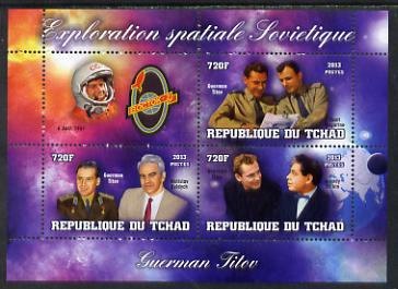 Chad 2013 Soviet Space Exploration - Gherman Titov #1 perf sheetlet containing three values plus label unmounted mint