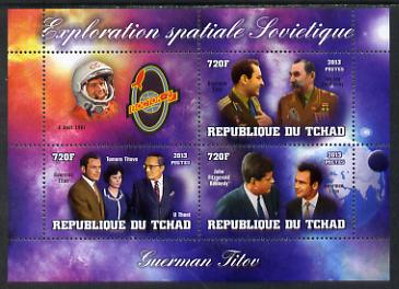 Chad 2013 Soviet Space Exploration - Gherman Titov #2 perf sheetlet containing three values plus label unmounted mint