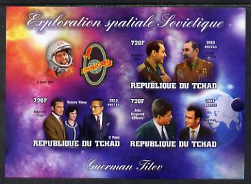 Chad 2013 Soviet Space Exploration - Gherman Titov #2 imperf sheetlet containing three values plus label unmounted mint