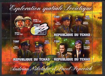 Chad 2013 Soviet Space Exploration - Andriyan Nikolayev & Pavel Popovich #2 perf sheetlet containing three values plus label unmounted mint