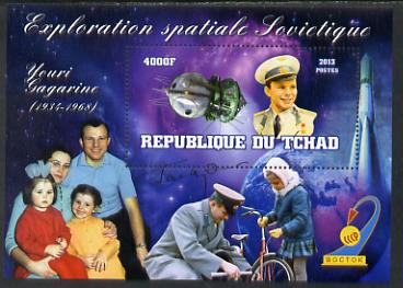 Chad 2013 Soviet Space Exploration - Yuri Gagarin perf deluxe containing one value unmounted mint