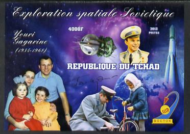 Chad 2013 Soviet Space Exploration - Yuri Gagarin imperf deluxe containing one value unmounted mint