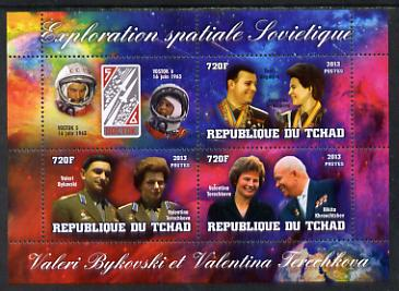 Chad 2013 Soviet Space Exploration - Valery Bykovsky & Velentina Tereshkova #1 perf sheetlet containing three values plus label unmounted mint, stamps on personalities, stamps on space