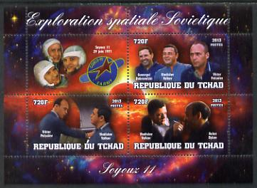 Chad 2013 Soviet Space Exploration - Soyuz 11 #1 perf sheetlet containing three values plus label unmounted mint