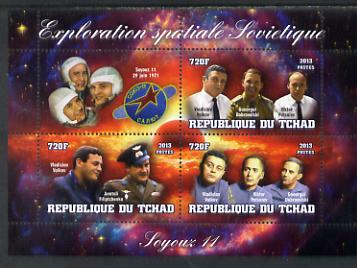 Chad 2013 Soviet Space Exploration - Soyuz 11 #2 perf sheetlet containing three values plus label unmounted mint