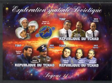 Chad 2013 Soviet Space Exploration - Soyuz 11 #2 imperf sheetlet containing three values plus label unmounted mint