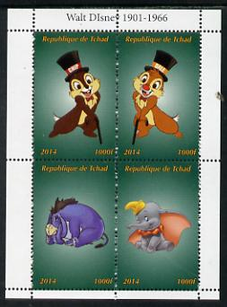 Chad 2014 Walt Disney #5 perf sheetlet containing 4 values unmounted mint. Note this item is privately produced and is offered purely on its thematic appeal. .