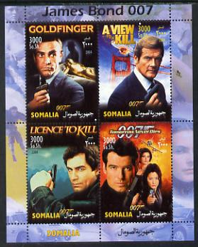 Somalia 2004 James Bond perf sheetlet containing 4 values unmounted mint. This sheet is in a small format with a predominately blue margin (see also item 708021). Note this item is privately produced and is offered purely on its thematic appeal