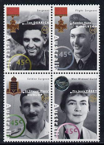 Australia 1995 WW2 War Heroes - 1st issue set of 4 unmounted mint SG 1521a