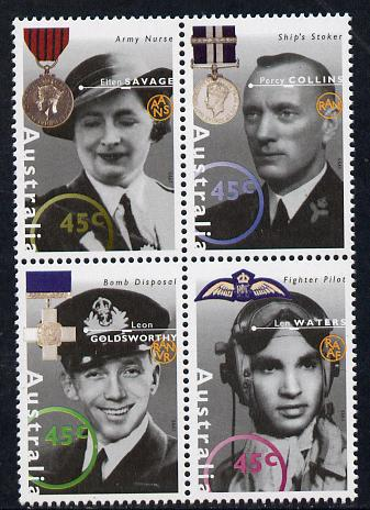 Australia 1995 WW2 War Heroes - 2nd issue set of 4 unmounted mint SG 1545a