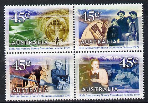 Australia 1999 Snowy Mountain Hydro-Electric Scheme set of 4 unmounted mint SG 1888a