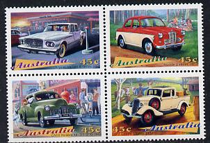 Australia 1997 Classic Cars se-tenant block of 4 unmounted mint SG 1667-70