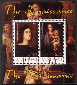 Malawi 2009 Renaissance Painters - Raphael perf sheetlet containing 2 values cto used