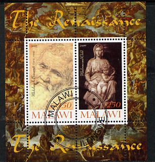 Malawi 2009 Renaissance Painters - Michelangelo perf sheetlet containing 2 values cto used